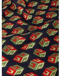 Gucci Blue Wallpaper GG Print Cube Scarf for men