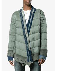 Greg Lauren Green Army Padded Kimono Jacket for men