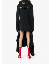 Vetements Black Layered Asymmetric Hoodie Dress