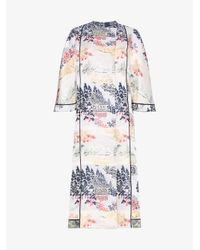 Adam Lippes Blue Reverse Jacquard Silk Kimono Coat