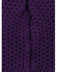 Inverni Purple Chunky Wool Knitted Beanie
