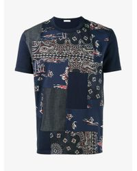 Moncler Blue Bandana Patchwork T-shirt for men