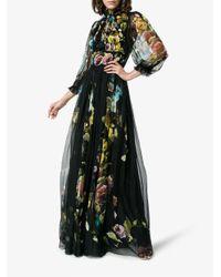 Dolce & Gabbana Black Silk Chiffon Floral Print Maxi Dress