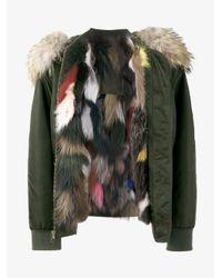 Mr & Mrs Italy - Green Fox Fur Lined Bomber Jacket - Lyst