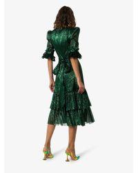 The Vampire's Wife Green Veneration Leaf Print Silk Dress