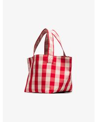 Trademark Red And White Gingham Grocery Bag
