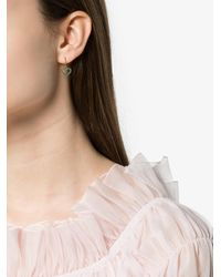 Rosa De La Cruz Gray Turquoise Heart Gold Earrings