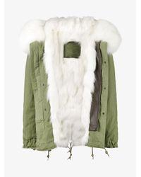 Mr & Mrs Italy Green White Fox Fur Lined Parka
