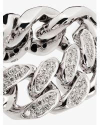 SHAY White 18k Gold Flat Link Diamond Ring for men