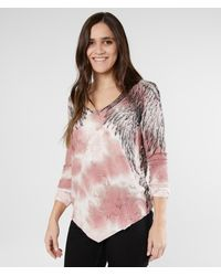 Affliction Pink American Customs Isadora Thermal Top