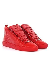 Balenciaga Sneaker Arena Opaque High Lambskin Leather Red Crinkled for men