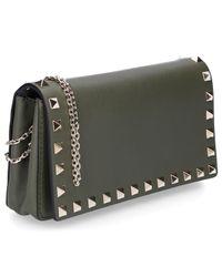 Valentino Green Shoulder Bag Rockstud Leather Rivets Gold Logo Olive