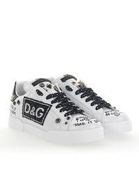 Dolce & Gabbana Sneakers Portofino Light Nappa Leather White Logo Print Patch