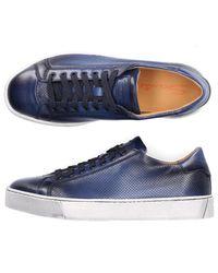 Santoni Low-top Sneakers 21066 Calfskin Hole Pattern Logo Blue for men