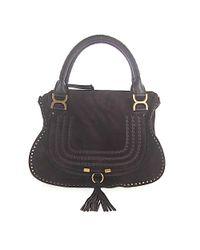 Chloé Handbag Shoulder Bag Marcie Suede Brown Fringes
