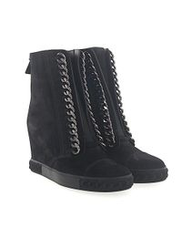 Casadei Wedge Sneakers 2r642 Suede Black Chain Ornament