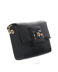 Dolce & Gabbana Shoulder Bag Millennials Mini Leather Black Crystal Logo Patch