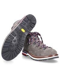 Moncler Gray Lace-up Boots Peak Suede Logo Metal Eyelets Grey for men