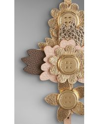 Burberry Metallic Leather Flower Bracelet