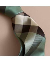 Burberry Modern Cut Check Silk Tie Sea Green for men