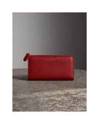 Burberry Grainy Leather Ziparound Wallet Parade Red