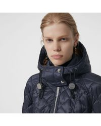 Burberry - Multicolor Detachable Hood Lightweight Diamond Quilted Coat - Lyst