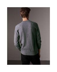 Burberry Gray Cashmere V-neck Sweater for men
