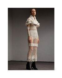 Burberry White Lace Capelet With Shearling Collar