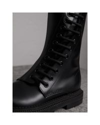 Burberry - Black Leather Asymmetric Lace-up Boots - Lyst