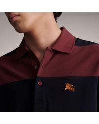 Burberry Blue Striped Cotton Piqué Polo Shirt Burgundy/navy for men