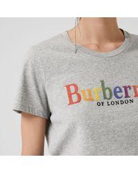 Burberry Gray T-Shirt aus Baumwolle mit Vintage-Logo