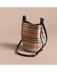 Burberry - Leather And Haymarket Check Crossbody Bucket Bag Black - Lyst