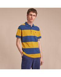 Burberry Blue Striped Cotton Piqué Polo Shirt Ochre Yellow/bright Navy for men