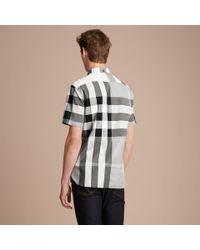 Burberry Gray Button-down Collar Short-sleeve Check Cotton Shirt Light Grey for men