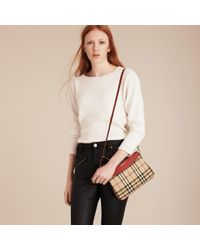 Burberry - Natural Horseferry Check And Leather Clutch Bag Parade Red - Lyst