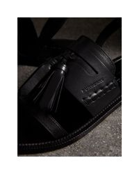 Burberry Black Tasselled Leather Sandals