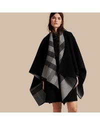 Burberry | Gray Check-lined Wool Poncho | Lyst