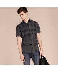 Burberry Gray Short-sleeved Check Cotton Shirt Charcoal for men
