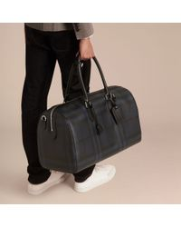 Burberry - Blue Leather Trim London Check Holdall Navy/black - Lyst