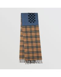 52e0983bd5 Burberry Vintage Check Colour Block Wool Cashmere Scarf - Lyst