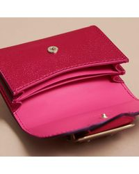 Burberry Metallic Leather Card Case Bright Pink