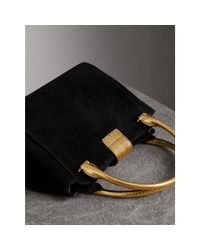 Burberry Multicolor The Medium Buckle Tote In Suede And Snakeskin
