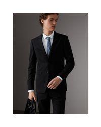 Burberry - Slim Fit Wool Part-canvas Suit Black for Men - Lyst