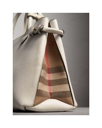 Burberry - Natural The Medium Banner In Leather And House Check - Lyst