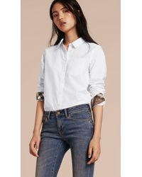 Burberry Check Detail Cotton Shirt Optic White