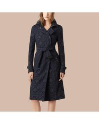 Burberry Blue Gabardine Lace Trench Coat Ink