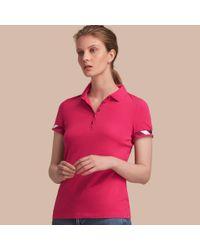 Burberry Pink Check Trim Stretch Cotton Piqué Polo Shirt Bright Hibiscus