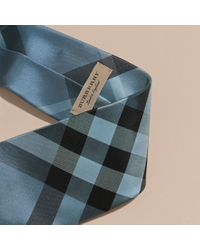 Burberry - Modern Cut Check Jacquard Silk Tie Hydrangea Blue for Men - Lyst