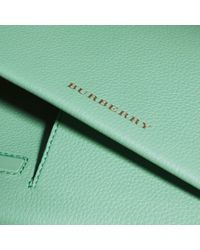 Burberry Green Grainy Leather Travel Wallet Light Mint
