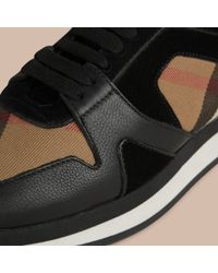 Burberry Black The Field Sneaker In House Check And Leather for men
